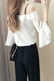 Black and White Loose Contrast Linking Flare Sleeve Two-Piece Pants Jumpsuit for Casual Party