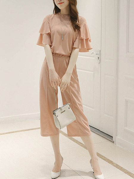 Pink Slim Ruffle Wide-Leg Two-Piece Jumpsuit for Casual Party