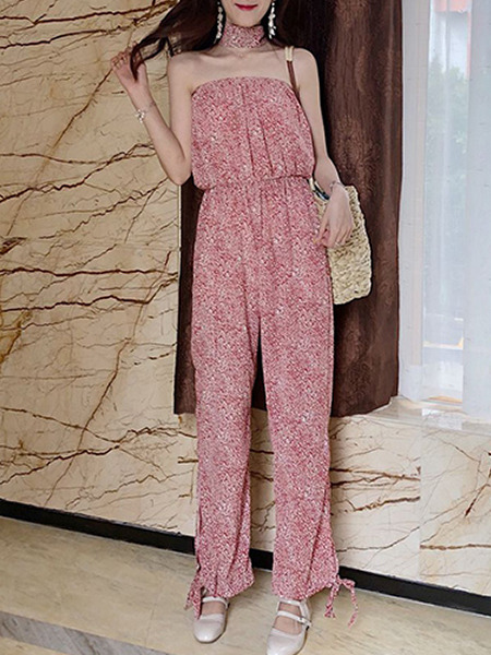 Dark Pink Colorful Loose Printed Siamese Tube Jumpsuit for Casual Party
