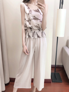 Beige Loose Printed Wide-Leg Two-Piece Pants Jumpsuit for Casual Party