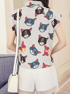 Grey Colorful and White Slim Printed Two-Piece Shorts Collar Plus Size Jumpsuit for Casual Party