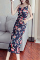 Colorful Slim High-Waist Printed Wide-Leg Siamese Floral Jumpsuit for Casual Party