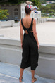 Black Slim Wide-Leg Open Back Siamese V Neck Jumpsuit for Casual Party