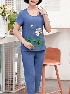 Navy Blue Loose Located Printing Plus Size Jumpsuit for Casual Party