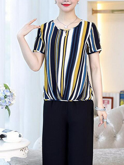 Black and Colorful Loose Contrast Stripe Wide-Leg Jumpsuit for Casual Party