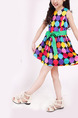 Colorful Wave Point Contrast Round Neck A-Line Butterfly Knot Slim Above Knee Girl Dress for Casual Party