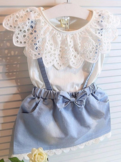 Blue and White Strap Contrast Laced Denim Butterfly Knot Girl Dress for Casual Party