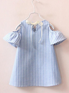Blue and White Off-Shoulder Stripe A-Line Loose Girl Shirt for Casual
