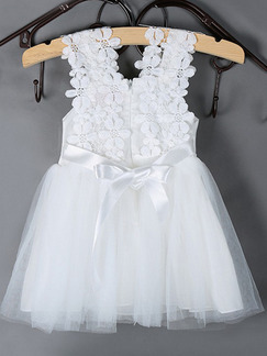 White Mesh Three-dimensional Flower Band Belt Back Girl Dress for Party Evening
