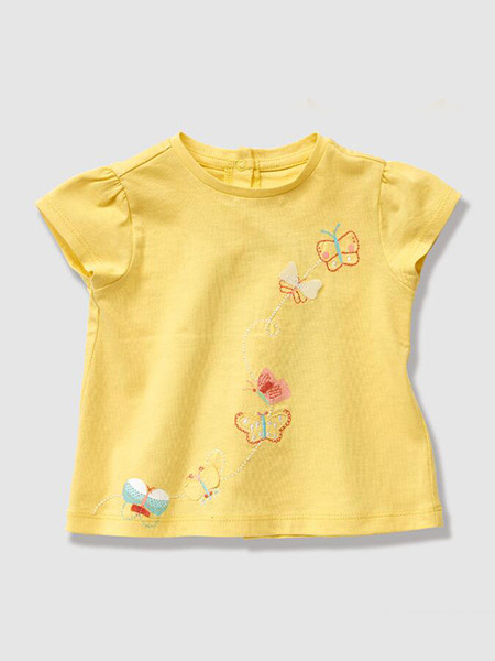 Yellow Knitted Round Neck Butterfly Pattern Bubble Sleeve Embroidery Girl Shirt for Casual
