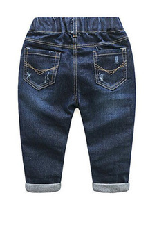 Blue Denim Adjustable Waist Hemming Small Pocket Boy Pants for Casual