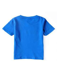 Blue Round Neck Dinosaur Letter printed Boy Shirt for Casual