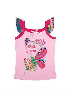 Pink Linking Ruffled Sling Pattern Letter Rhinestone Patch Embroidered Girl Shirt for Casual