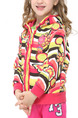 Pink Colorful Contrast Stripe Printed Hooded Ruffled Zipper Girl Jacket for Casual