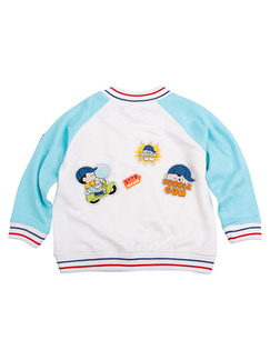 White and Turquoise Contrast Linking Stripe Stand Collar Pattern Lettern Embroidery Long Sleeve Boy Jacket for Casual