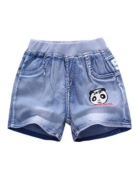 Blue Denim Linking Wide-Leg Adjustable Waist Panda Pattern Boy Shorts for Casual