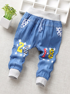 Blue Denim Pattern Number Linking Loose Feet Adjustable Waist Band Belt Embroidery Boy Pants for Casual