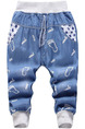 Sky Blue Denim Pattern Linking Loose Feet Adjustable Waist Band Belt Embroidery Boy Pants for Casual
