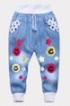 Sky Blue Denim Pattern Linking Loose Feet Adjustable Waist Band Embroidery Boy Pants for Casual