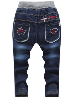 Blue Denim Pattern Letter Linking Adjustable Waist Embroidery Long Boy Pants for Casual