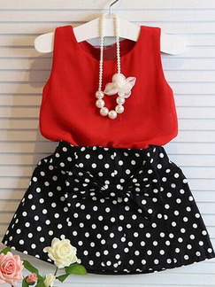 Black and White Red Two-Piece Linking Wave Point Butterfly Kont Girl Dress for Casual Party