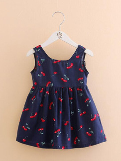 Blue A-Line Floral Band Belt Back Printed Girl Dress for Casual Party