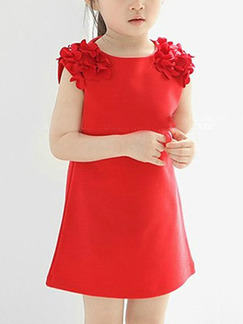 Red Slim Laced Shoulder Twist Pattern Above Knee Girl Dress for Casual Party