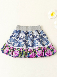 Colorful Printed Adjustable Waist Laced Fishtail Above Knee Girl Skirt for Casual