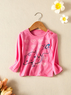 Pink Round Neck Buttons Shoulder Pattern Located Printing Long Sleeve Girl Shirt for Casual