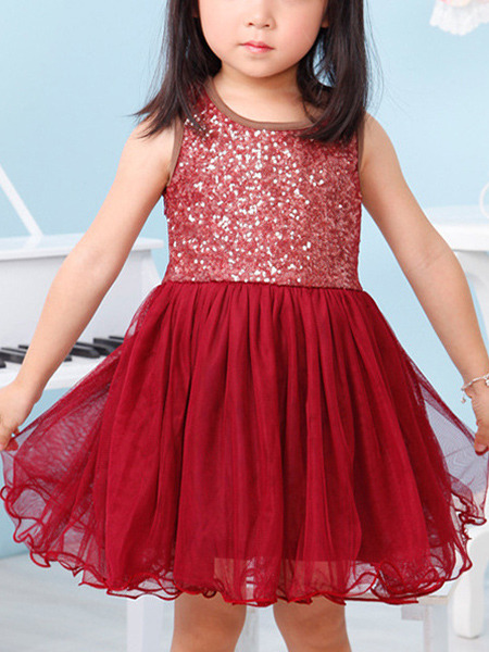 Red Round Neck Sequins Mesh Girl Dress for Casual Party