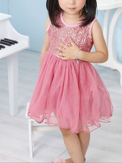 Pink Round Neck Sequins Mesh Cute Girl Dress for Casual Party