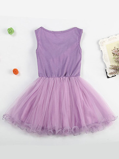 Purple Round Neck Hook Flower Mesh Fishtail Contrast Linking Girl Dress for Casual Party