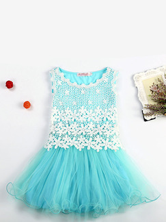 Turquoise Round Neck Hook Flower Mesh Fishtail Contrast Linking Girl Dress for Casual Party
