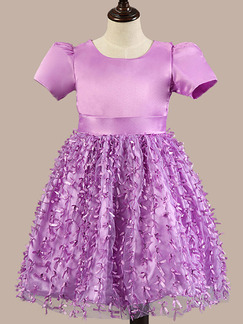 Purple Satin Organza A-Line Round Neck Lantern Sleeve Band Belt Back Butterfly Kont Girl Dress for Casual Party