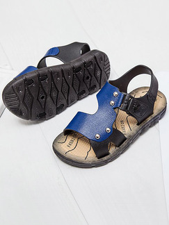 Blue and Black Leather Comfort Boy Shoes for Casual Beach