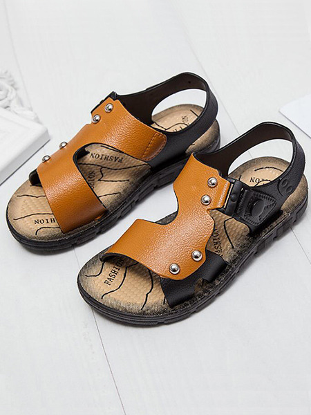 Orange and Black Leather Comfort Boy Shoes for Casual Beach