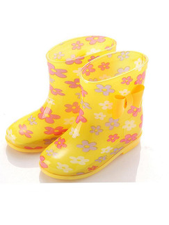 Yellow PVC Wellington Waterproof Girl Shoes for Casual Rain