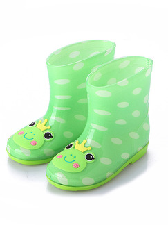 Green PVC Wellington Waterproof Girl Shoes for Casual Rain