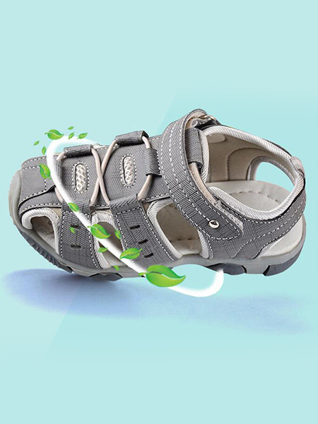 Gray and White Polyester Comfort Boy Shoes for Casual