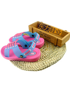Pink and Blue PVC Comfort Flip Flops Girl Shoes for Casual