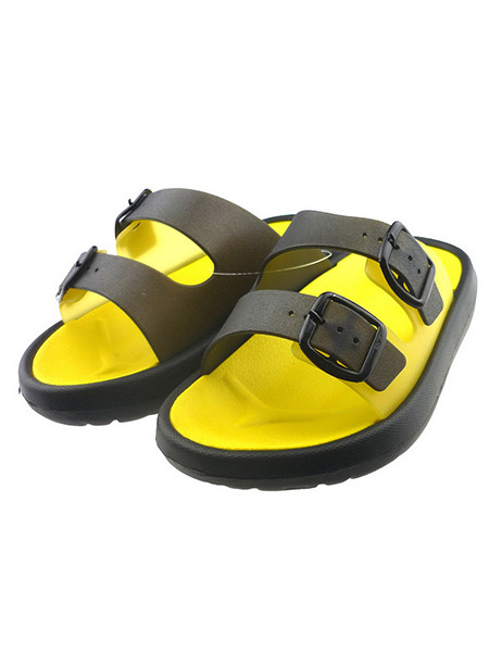 Yellow and Black PVC Comfort Slide Buckle Boy Shoes for Casual