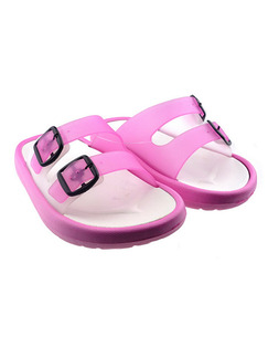 Pink and White PVC Comfort Slide Buckle Girl Shoes for Casual