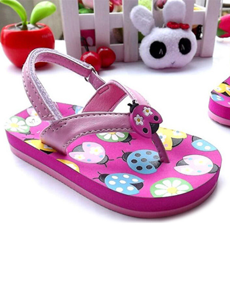 Pink Leather Comfort Thong Buckle Girl Shoes for Casual