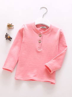 Pink Stand Collar Buckle Placket Front Long Sleeve Girl Shirt for Casual Party