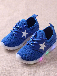 Blue and White Polyester Lace Up Comfort Soles With LED Boy Shoes for Casual Party