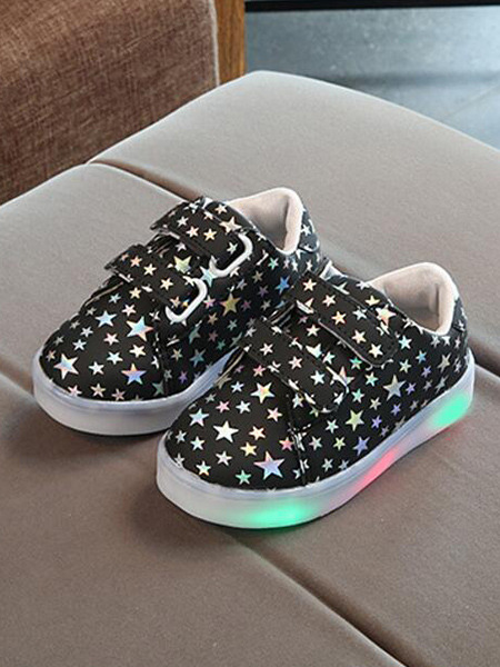 White and Black Leather Comfort Platform Soles With LED Girl Shoes for Casual Party