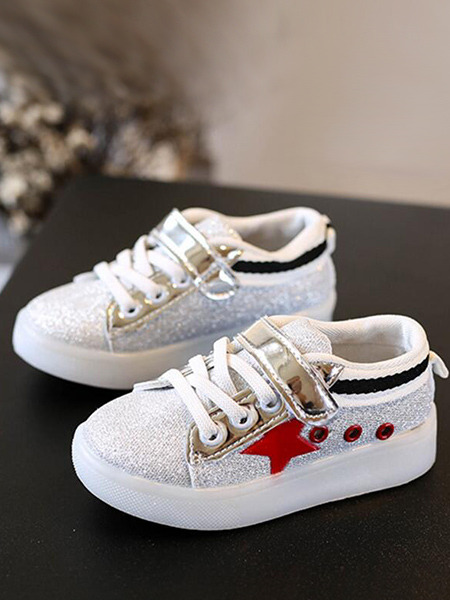 White and Red Chemical Fiber Soles With LED and Bright Silk Lace Up Comfort Girl Shoes for Casual Party