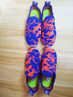 Blue and Orange Polyester Comfort Boy Shoes for Casual