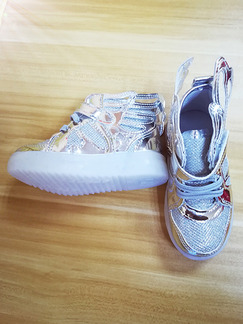 Silver Chemical Fiber Bright Silk and Soles With LED Comfort Lace Up Boy Shoes for Casual Party