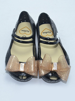 Black PVC Comfort Flats Girl Shoes for Casual Party